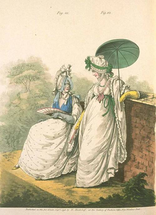 Gallery of Fashion, September 1796.  Look at the interesting cap on the gal on the left!  I like the sheer blue veiling!