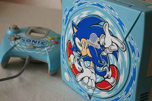 Custom Sonic Adventure Sega Dreamcast Another one from OSKUNK. Sega should just start releasing limited edition Dreamcast consoles that look as fresh as this. Then they could use the money to start making better games and get back into the console wars.