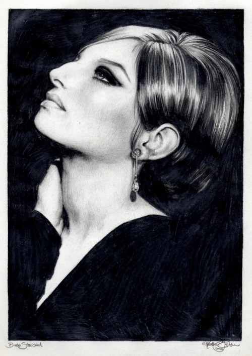 I have recently fallen head over heels in love with Barbra Streisand after watching (and rewatching) her play Fanny Brice in Funny Girl, her first movie and consequently her first  Oscar. So naturally I jumped at the chance to share with y'all Matthew Jackson's gorgeous graphite portrait of her from the film.