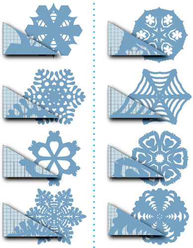 DIY Paper Snowflakes. Actually a whole page of snowflakes, templates, instructions etc… at the Russian site Katrai (but google translates it well). You can find all of this here. You can also dip paper snowflakes into wax. But that is another tutorial.