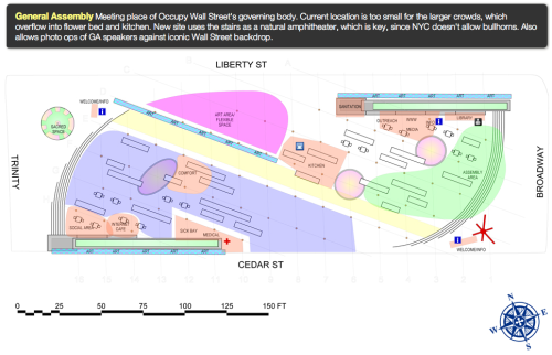 "Mother Jones put together an interactive map of Zuccotti Park, aka Liberty Park, aka ""home"" to hundreds of protesters taking part in Occupy Wall Street. This element of city planning is quite impressive. However, the one thing that may hold them back from implementing such a plan is the vacate order that's been given for this Friday, as the city hopes to send in sanitation workers to clear the park of trash—and people."