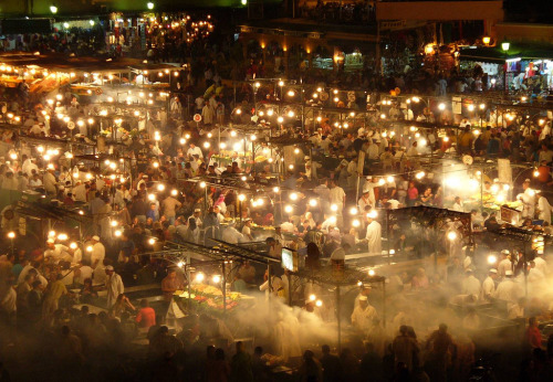 Moroccan market at night