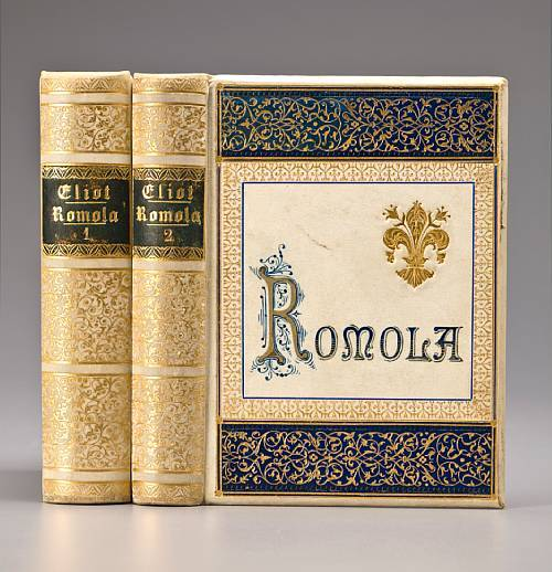 "Romola George Eliot. Leipzig: Bernard Tauchnitz, 1863.  2 volumes. 12mo (159 x 113 mm). vi, 328; vi, 310 pp. Illustrated with 70 albumen photo plates. Original gilt-tooled vellum with blue morocco inlays, beveled boards, a.e.g., silk endpapers. Light rubbing to spine labels, but otherwise an excellent copy. ""Copyright edition.""  Impressions of Theophrastus Such. Edinburgh and London: William Blackwood and Sons, 1879. 8vo. ""Publishers' note"" slip at front. Original brown cloth stamped in gilt and black, lettered in gilt on spine, chocolate endpapers. Light wear to extremities. Provenance: J. Delicor (period ownership inscription).  FIRST EDITION. Published the year before her death, this was to be Eliot's final work."