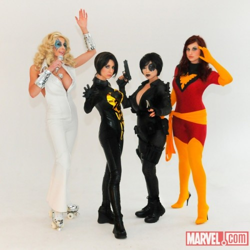 agentmlovestacos:  Dazzler! Wasp! Domino! Phoenix! Killer cosplay; photo by Judy Stephens. L-R: Marie Claude Bourbonnais, Riki Lecotey, Yaya Han and Meagan Marie from their shoot yesterday with Jay Tablante.  Meagan already posted this to her own blog, but this is too cool not to spread around; I especially love Marie's Dazzler cosplay - chanelling Lady Gaga by way of Donna Summer (an inspiration for the character, it's been said). Looking forward to seeing what news and cosplay NYCC brings us!