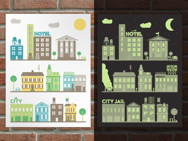 """Day and Night Print"" By day, this glow-in-the-dark poster features a quaint city scene. But  when the lights go out, a town full of crime, sex, guns and zombies (and  a few extra hidden surprises) appears."