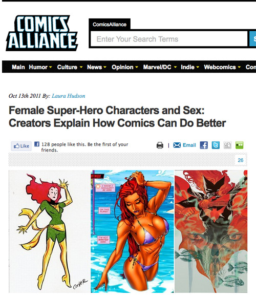 Female Super-Hero Characters and Sex: Creators Explain How Comics Can Do Better Woo, I'm stoked to be one of the creators interviewed for this article! Thanks, Comics Alliance!
