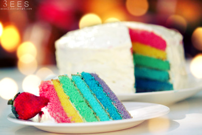 Rainbow cake! Now i want some sweets :3