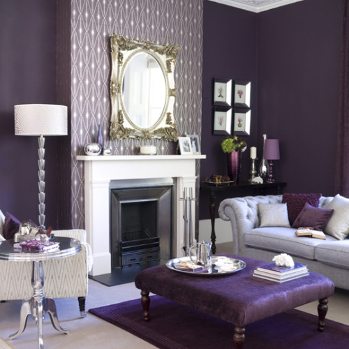 Deep purple and gold living room (via Regal Colors, Updated: Purple & Gold in Today's Homes | Apartment Therapy Boston)