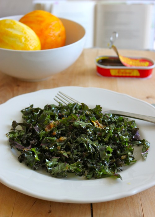 raw kale salad with anchovy-date dressing from cook this now, by melissa clark