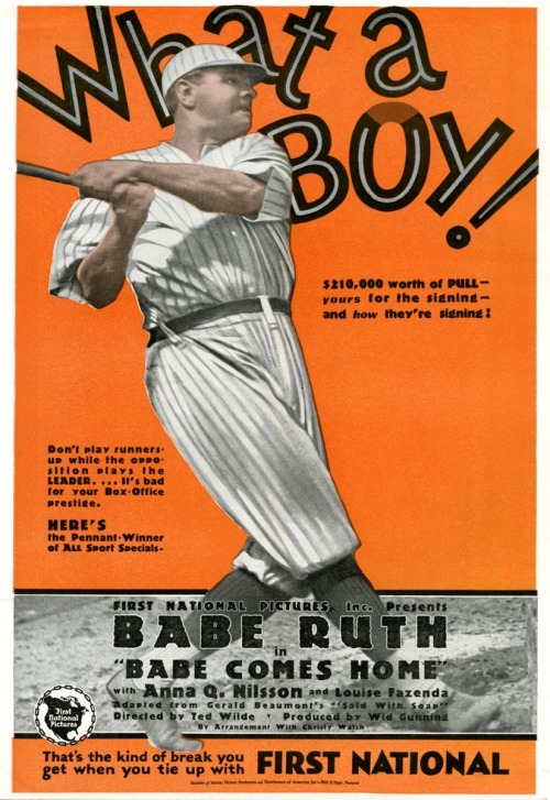 "What A Boy! 1927 Sales Promo Poster for ""Babe Comes Home"". The title actually says both ""What A Boy!"" and ""What A Buy!"" depending on how you look at it."