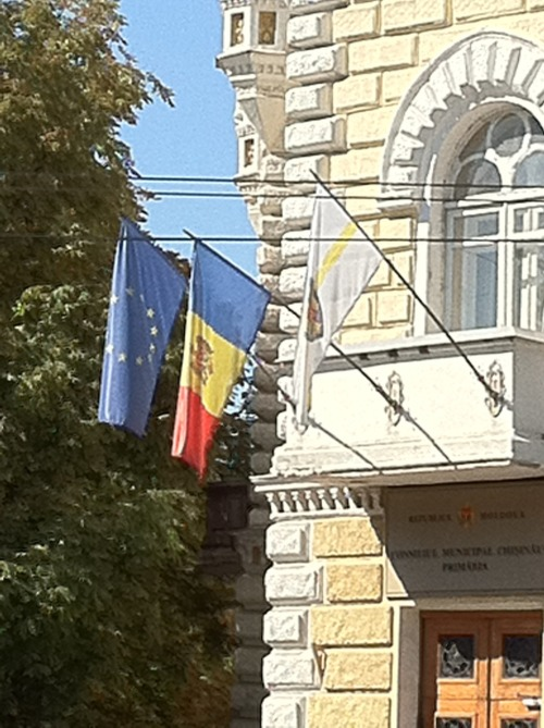 Moldovan Flag, European Flag, central Chisinau, Moldova, Independence Day 2011.