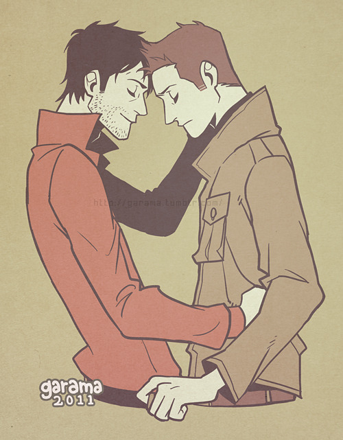 garama:  dedicated to dinaga . Future Cas & Dean (because I wanted to draw Cas smiling).