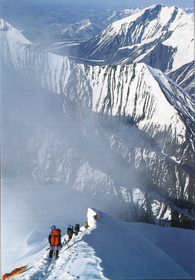alaskageographic:  A climbing team descends Mount MicKinley's Karstens Ridge in June 1996  -Brian Okonek