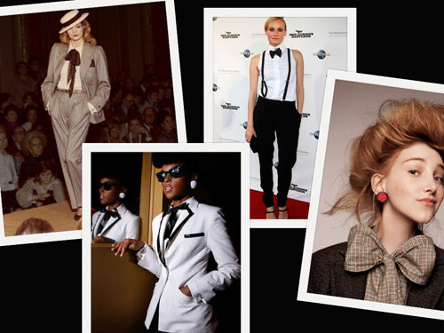 The bow-tie can be a perfect match for an androgynous look and a boyish charm.
