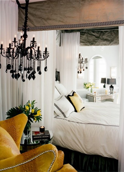 Statement Bedroom! Add some bold color to black and white and get some drama.