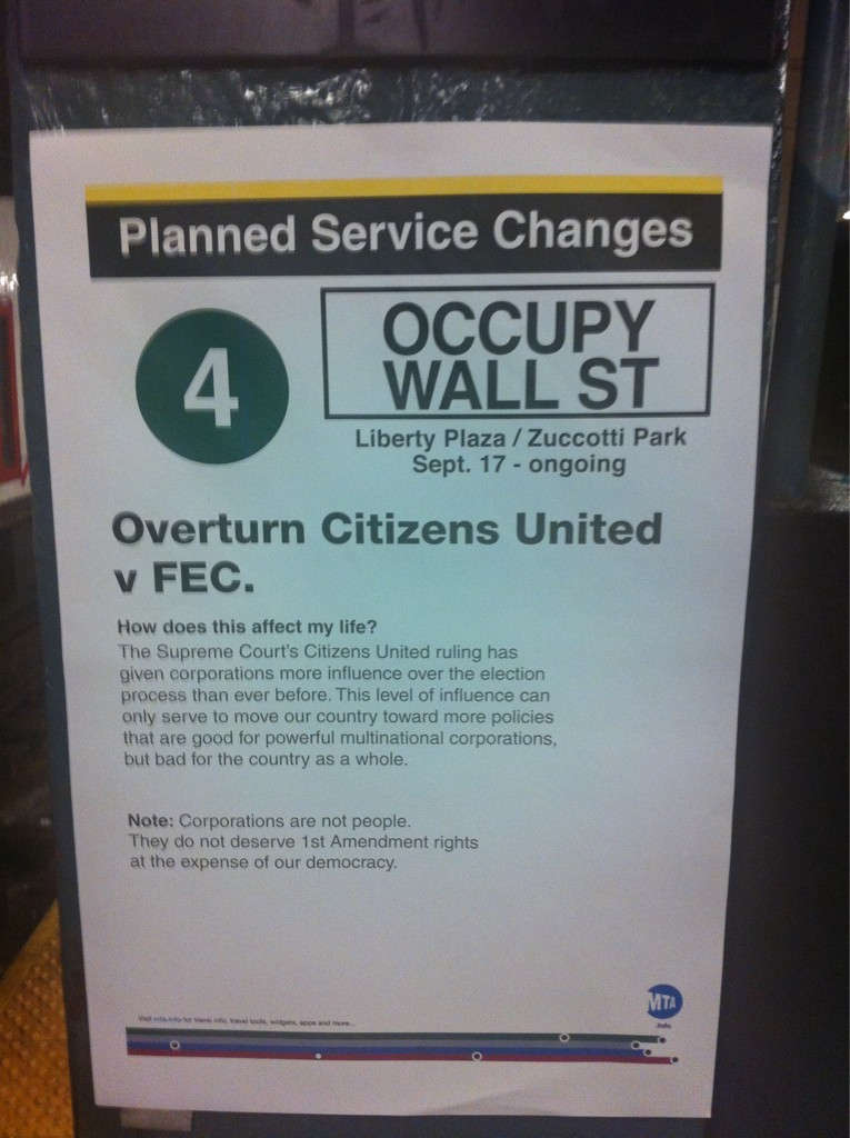 [Image: From afar looks like an ordinary MTA service announcement, but look closer] This is a smart poster. Picking up the graphic language of the MTA to draw people's attention to a completely different message is brilliant design work. Hats off to whomever created these.