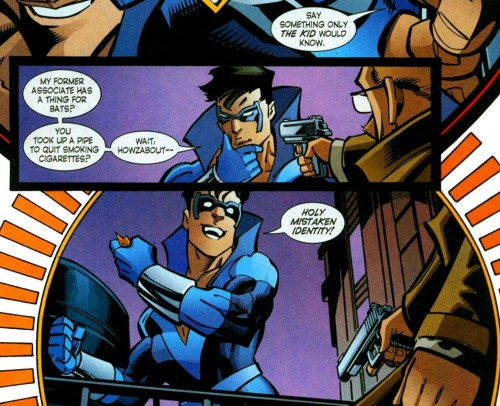 "fyeahdickgrayson:  joshkuu:  Dick's first meet up with Gordon as Nightwing XD  I like how Jim only lowers the gun when Dick says his ""Holy..!"" exclamation."