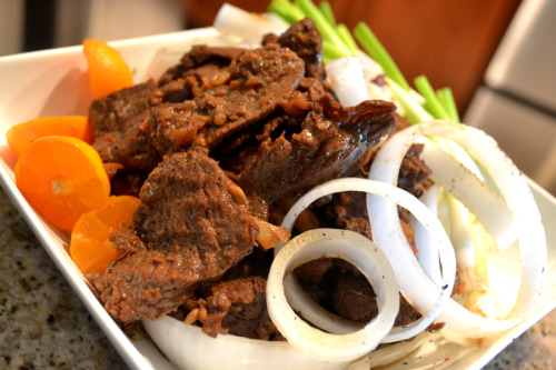"Filipino Beef Steak (Bistek)-In Pampango, we call this ""Bisteg"", and it's always been one of my favorite Beef dishes. I like to use lots of Calamansi when marinating the meat (I'm talking about A LOT of Calamansi). This really gives the dish that unique , truly Filipino, citrusy flavor :)"