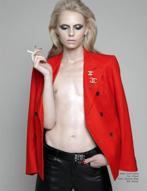 threadsandnotes:  Andrej Pejic, photographed by Christos Karantzolas for the October 2011 issue of Schön Magazine.