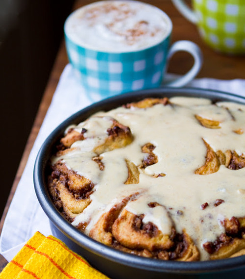 Vegan Pumpkin Pecan Cinnamon Rolls with Ginger Cream Cheese Glaze