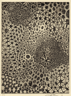branchandblaze:  Clint Fulkerson, Push/ Pull 1, Etching, 2010  Does this remind anyone else of a crinoid calyx?