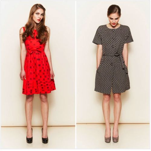 "I love these 40s inspired dresses!  ""People Tree, the fairtrade pioneer,  has partnered with 'the Queen of Prints' Orla Kiely to offer these ethical versions, on trend. On the left: the Orla Kiely Prom Dress, sleeveless prom dress with gathered skirt and bow. £85.00. On the right:  the Orla Kiely Tea Dress,  a button-through lined tea dress with a high neck, short sleeves and  tie belt. £95.00. Both made in 100% organic Fairtrade certified cotton."" - magnifico.com"
