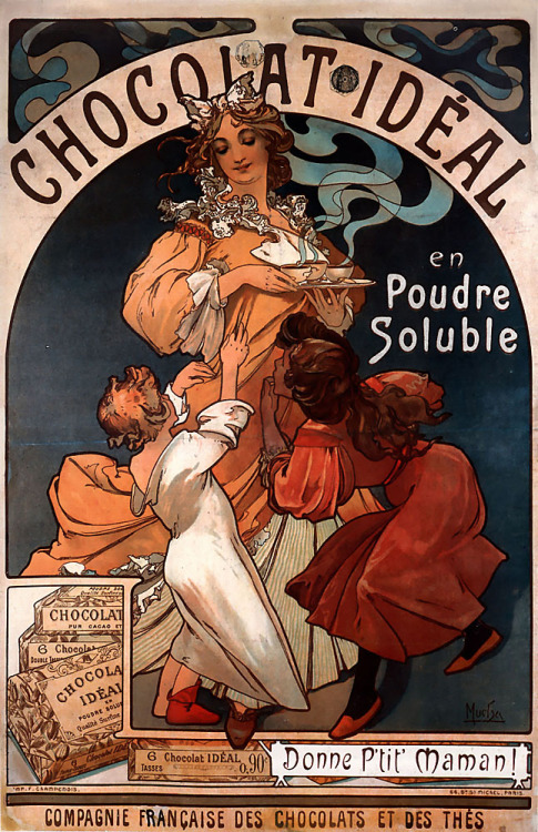 indigodreams:  Chocolat Ideal, Alphonse Maria Mucha  As both a chocolate- and Mucha-lover, I have this one as a 61x92cm sized poster and it's hanging in my kitchen :-) Its one of my three Mucha-posters and I adore them all!