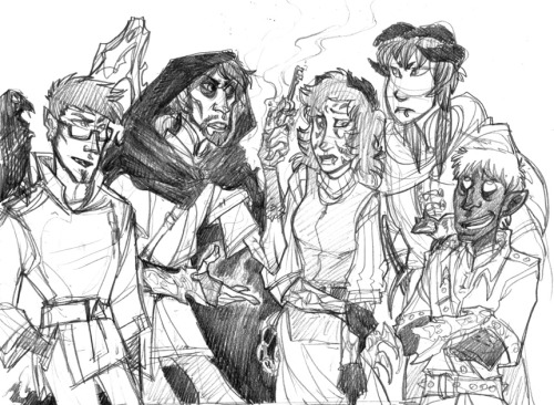 So this is the D&D party I play in right now! From left to right: Alter Kesavia (half-elf blood mage and necromancer, used to be a multiple-personalitied full-elf but it's a long story), Lord Jonan Thaydin (non-evil half-lich human necromancer, my character, unfortunate necromantic accident means he burns in the sun like a vampire), Xiao Fuu (Lenzian paladin, technically gets her powers from a demon but she's Lawful Good, it's a long story — also, my girlfriend), Xiao Yin (Lenzian paladin, very serious and very Engrish, Fuu's son, not too thrilled that his mom's dating a lich), and Asher Cheranichit (jet elf elemental mage, master of all magical elements, vassal for the Angel of Stone, and possibly very gay for Alter). Also pictured: Alter's raven familiar, Munnin, and Asher's meerkat familiar, Taima. We got this Artefact Key that travels through time and space. We sort of needed it to get back home from New York (it's a long story) and now the guy who's kind of running our operation to save the world has told us it will probably drive us mad if we keep using it. Naturally, last session we agreed to take an airship instead of using the Key, then stepped outside and promptly debated using the Key. It'd be much simpler to jump through space to our destination and jump into the past to see who destroyed the magical shrine than meander over there on airship and try to fix it after the fact. Yin wants to follow the rules and stop playing with dangerous artefacts… but I think we've outvoted him. C8