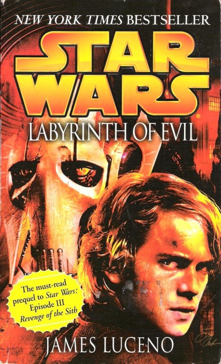 "Labyrinth of Evil by James Luceno (2005, Del Rey) ""The must-read prequel to Star Wars: Episode III Revenge of the Sith,"" proclaims the obnoxious-looking copy in the lower-left corner of the cover. The ""must-read"" descriptor clearly is false, since I went to see Revenge of the Sith on opening night, not having picked up a Star Wars book in years, and understood what was going on just fine. Now, in pointing out a bullshit marketing ploy, I'm certainly not trying to tell you notto read Labyrinth of Evil. James Luceno, in my estimation, is one of the better writers in Del Rey's stable, and with the exception of Dark Lord: The Rise of Darth Vader, this is probably the best work of his that I've read. Luceno has a very good understanding of just how much of a brilliantly evil, manipulative bastard Palpatine is, and that really comes through in this book. Labyrinth of Evil draws on the numerous stories that came out between Episodes II and III for a pretty rewarding culmination of events.  During ""that business on Cato Neimoidia,"" Obi-Wan and Anakin come across the device Nute Gunray had been using since The Phantom Menace to keep in touch with Darth Sidious. With no more doubt as to the existence of Sidious, the Jedi begin an effort to track down the Sith Lord and piece together his identity. The trail of the transceiver's origins stretches all over the galaxy and (of course) leads right back to Coruscant itself. Mace Windu and Shaak Ti are even able to follow the trail as far as 500 Republica, the massive apartment complex that is home to Coruscant's most rich and powerful—including Palpatine. The search forces Palpatine's hand, and his plans are set into motion early; thus, the Jedi don't have time to put two and two together concerning the identity of Darth Sidious before Coruscant itself comes under attack. The book ends on a ""TO BE CONCLUDED"" cliffhanger, with Obi-Wan and Anakin, who had (by design, of course) been tied up with Dooku, getting ready to rush into the battle over Coruscant. My favorite bits, though, involve Bail Organa, Mon Mothma, and Padme—members of the ""Loyalist Committee""—and their dealings with Palpatine. While Bail might not know that Palpatine is a Sith Lord, he seems to have a better understanding than most about where things are going. A fantastic passage early in the book discusses what Bail refers to as ""the new Coruscant,"" where such an effective climate of fear has been created that constant, invasive searches by clone troopers are a daily reality, anti-alien sentiments are brewing, and the Supreme Chancellor throws around terms like ""Triad of Evil"" to help him garner continued support for the prolonged war. A lot of people read a criticism of then-President George W. Bush's administration into the events of Revenge of the Sith. That's debatable, but there is little question that Luceno had Bush and the ""War on Terrorism"" in mind when he wrote these passages. Some folks get upset when a sci-fi or fantasy story strays outside the realm of pure escapism, but I can appreciate a certain level of commentary, even in a Star Wars book. Most importantly, though, this book, while not necessarily a ""must-read,"" is a great tie-in to Revenge of the Sith. It has all of the elements that make that film great: Anakin's struggle to keep his emotions—particularly his rage—under control; Obi-Wan and Anakin's camaraderie, which is very touching at times in this book; exciting space battles and lightsaber duels; and, above it all, Palpatine, ever the puppet master, the chess player, pulling strings and sliding pawns around the galactic board."