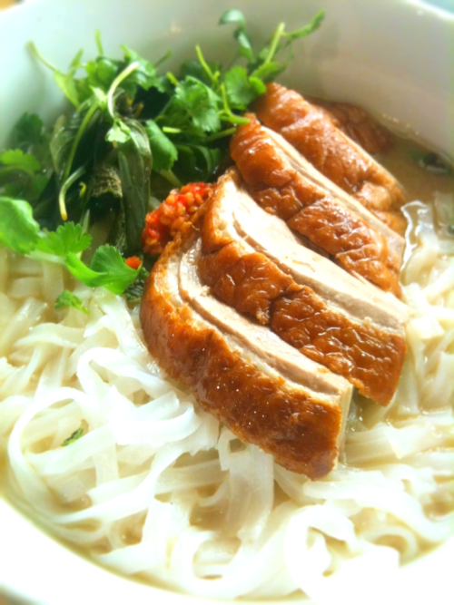 Vietnamese rice noodle soups are to me at once light, comforting and nourishing.  My homemade Vietnamese duck noodle soup features stock made with Peking duck frames, cassia, star anise, fennel seeds, singed ginger and shallot. The duck itself is from Milawa Poultry and cooked to a family recipe.  With the noodles I placed choi sum, bean shoots, fresh mint, fresh coriander, Thai basil, chilli and a little hoi sin sauce. A perfect ending to a warm Spring day.