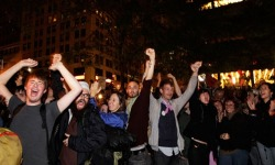"thedailywhat:  Occupy Wall Street News Update of the Day: A tense standoff between police and Occupy Wall Street protesters was quickly defused as word came down from Deputy Mayor Cas Holloway that Brookfield Properties, owners of Zuccotti Park, have postponed the park cleaning that would have forced demonstrators to leave, and withdrawn their request ""for police assistance during their cleaning operation."" Holloway's statement continues:  Brookfield believes they can work out an arrangement with the protesters that will ensure the park remains clean, safe, available for public use and that the situation is respectful of residents and businesses downtown, and we will continue to monitor the situation.  Earlier, music industry mogul Russell Simmons had offered to pay out of pocket for the clean-up of the park, but had not received a response from the mayor's office. After word of the postponement reached protesters, an impromptu ""peaceful victory march"" toward Wall Street was quickly organized. According to reports, several have been arrested along the route, though no word as to why. The protesters eventually turned around as word spread that the park would be taken over in the absence. Mayor Michael Bloomberg said Brookfield could possibly move forward with the cleaning project in a couple of days, though may have to do so without help from the NYPD. [@ap / breakingnews / nydn / photo: reuters.]"
