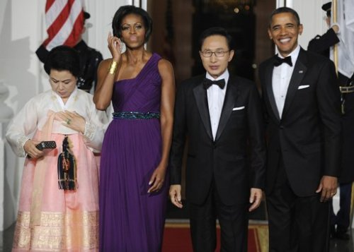 First Lady of Fashion! (Photo By JONATHAN ERNST/REUTERS)