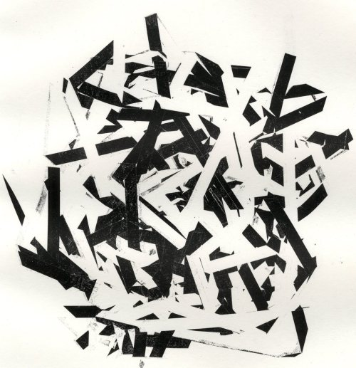 Typewriter Ribbon Relief, Chaos, 2011