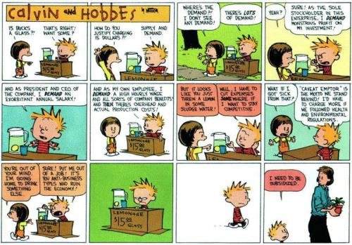 "14kgoldnyc:  savageinasuit:  ""Calvin & Hobbes explain causes of Occupy Wallstreet, 20 years ago""(punchline and image via reddit)  Yes. Bill Watterson was a genius."