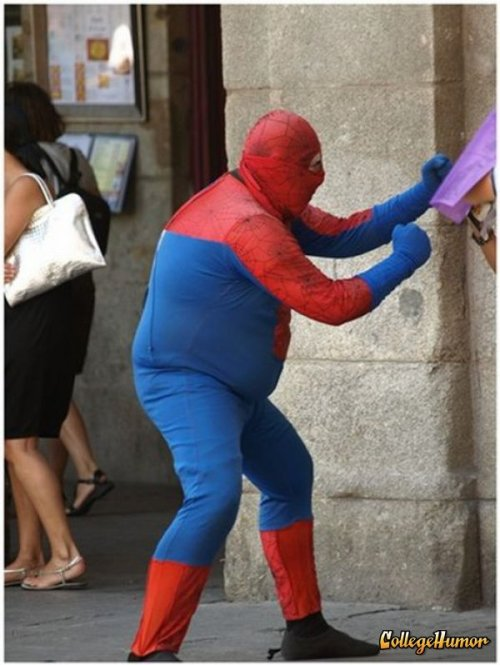 collegehumor:  Fat Spider-Man He shoots webs of cotton candy.