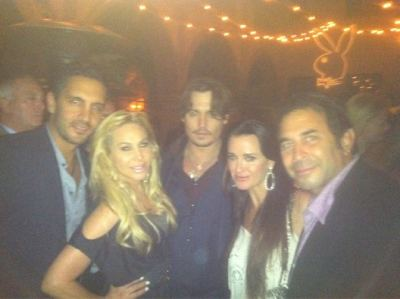 The Maloof's & The Umansky's with Johnny Depp at the Playboy Party