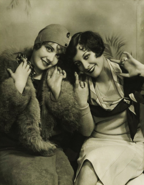 vintagegal:  Anita Page and Joan Crawford 1929  #gang signs?
