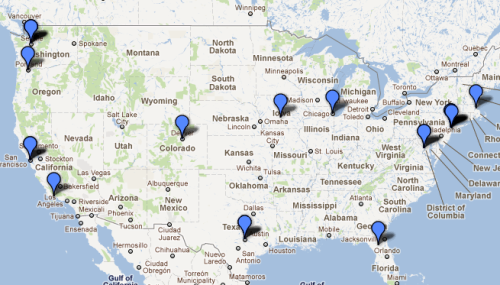 guardian:  motherjones:  Our map of #ows arrests is filling up, with new data from Portland, Austin, Gainesville, and the intense #OccupyDenver showdown last night.  We'll be covering Occupy events in London and elsewhere in the UK and Ireland this weekend (15 and 16 October).