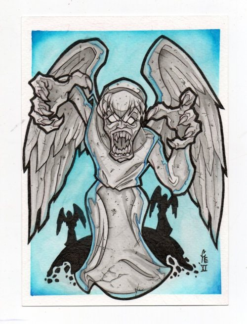 "chrismcvillain:  Weeping Angel Original Postcard. Watercolor on 5""x7"" Montival 140lb/300 gsm FOR SALE on my ETSY store!"