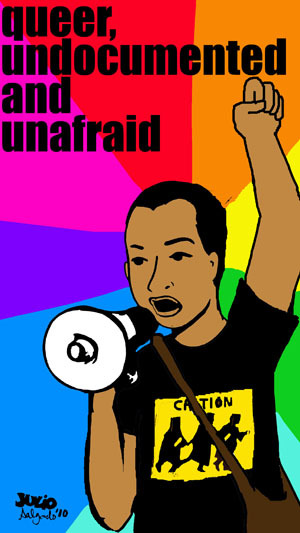 radicalxic:  Queer, Undocumented and Unafraid [Huffington Post]  This time, however, those identifying as undocumented and queer began to push for the creation of safe spaces and for the integration of LGBTQ awareness within the movement.