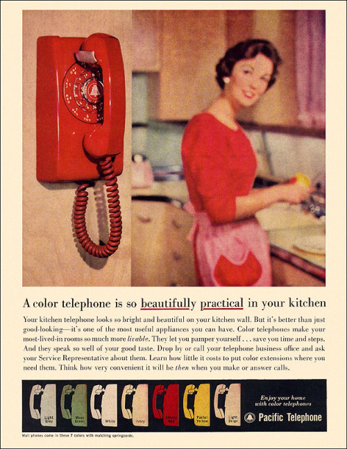 "theniftyfifties:  Pacific Telephone advertisement, 1959.  ""Beautifully practical"" indeed."