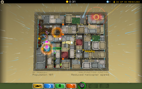 Atom Zombie Smasher is a very unique zombie apocalypse-centric game, and is definitely worth checking out. This indie game is probably the most light-hearted zombie game I've played, but at the same time it's probably the most stressful and terrifying. I didn't know this combination was possible. The reason I say this is because the aesthetics are very cartoony and it's coupled with surf-rock music and the story anecdotes they have are humorous (granted, it's dark humor). The reason I say it's stressful is because this isn't a game about killing all the zombies; rather it's about trying to save as many survivors as possible, and you quickly find out that it's simply not possible to save all of the survivors, in fact, you're lucky to just meet the goal.  This game is a wonderful example of good storytelling through gameplay. As a military tactician, you have to play a game of numbers, and the top-down view with all the units represented by dots is a good visual of this. It is a way of disassociating the survivors from being actual people, as I imagine someone who would be responsible for their care would try and do, since they can't all be saved. However, if you're like me, you'll find that you can't completely disconnect yourself from these dots and you become really tense when you see one lone purple dot (a zombie) coming towards a yellow cluster (survivors) because the second that purple dot reaches the cluster, a group of people just turned into a horde of zombies. If you're lucky you'll have snipers that you can aim in that direction to protect the people, but chances are you won't. From mission to mission you are given scarce units to use. You might be given only barriers, trip mines, and a stink bomb thing that attracts the zombies and have to figure out how to work with just those.  The difficulty of this game is fitting though since it is a zombie apocalypse; it's not going to be easy.