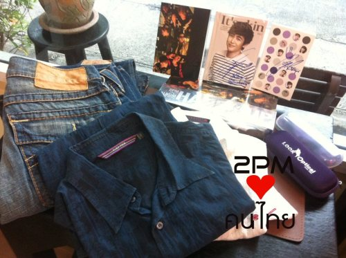list of 2pM's goods for this auction! 15 oct 2011 (BKK time)12.00 - 12.15 Hands Up limited + Hands Up Notebook (Nichkhun autographs) = 6000 THB / 195 USD 12.30 - 12.45 Look Optical notebook (Nichkhun autograph) = 3000 THB / 97.53 USD 13.00 - 13.15 CD album : 1.59 (2pm autograph) = 6000 THB / 195 USD 13.30-13.45 CD album : Hands Up (2pm autograph) = 4800 THB / 156 USD14.00- 14.30 Nichkhun's Jeans + Hands Up Notebook (Nichkhun autographs) = 22000 THB / 715.22 USD14.45 – 15.00 Look Optical notebook (Nichkhun autograph) = 3000 THB / 97.53 USD15.15-15.30 CD album : Still 2PM (2pm autograph) = 4500 THB / 146 USD15.45 – 16.00 CD album : Don't Stop (2pm autograph) = 4700 THB / 153 USD16.30-17.00 ***NEPA T-Shirt : Chansung (Chansung autograph) = 38000 THB / 1235 USD17.15-17.30 Look Optical notebook (Nichkhun autograph) = 3000 THB / 97.53 USD17.45 – 18.00 CD album : 1.59 (2pm autograph) = 6800 THB / 221 USD18.15-18.30 CD album : Hands Up (2pm autograph) = 6600 THB / 215 USD18.45-19.15 ***NEPA T-Shirt : Junho (Junho autograph) = 42000 THB / 1365 USD19.30-19.45 Look Optical notebook (Nichkhun autograph) = 3200 THB / 104 USD20.00 - 20.30 Nichkhun's Blue Shirt + Hands Up Notebook (Nichkhun autographs) = 35000 THB / 1040 USD20.45 – 21.00 CD album : Still 2PM (2pm autograph) = 6200 THB/ 202 USD21.15 – 21.30 CD album : Don't Stop (2pm autograph) = 6700 THB/ 218 USD22.00 - 22.30 ***NEPA T-Shirt : Wooyoung (Wooyoung autograph) = 60000 THB/ 1950 USD************************ 16 oct 201112.00 - 12.15 Look Optical eyeglasses + Lookoptical Notebook (Nichkhun autograph) = 22000 THB/ 715 USD 13.30-13.45 Look Optical notebook (Nichkhun autograph) = 4500 THB/ 146 USD 14.00- 14.30 Nichkhun's WHITE Shirt + Hands Up Notebook (Nichkhun autographs) = 40000 THB/ 1300 USD 14.45 – 15.00 CD album : Hands Up (2pm autograph) = 8200 THB/ 267 USD15.15 - 15.30 CD album : 1.59 (2pm autograph) = 8500 THB/ 276 USD15.45 – 16.00 Look Optical notebook (Nichkhun autograph) = 5200 THB/ 169 USD16.30-17.00 ***NEPA T-Shirt : Taecyeon (Taec autograph) = 80000 THB/ 2600 USD17.15-17.30 CD album : 1.59 (2pm autograph) = 9200 THB/ 300 USD17.45 – 18.00 CD album : Hands Up (2pm autograph) = 8500 THB/ 276 USD18.15-18.30 Look Optical notebook (Nichkhun autograph) = 5100 THB/ 166 USD18.45-19.15 ***NEPA T-Shirt : Junsu (Junsu autograph) = 70000 THB/ 2276 USD19.30-19.45 It's Skin notebook (Nichkhun autograph) = 17000 THB/ 553 USD20.00-20.15 Nichkhun's Jeans + Hands Up Notebook (Nichkhun autographs) = 40000 THB/ 1300 USD20.30 - 21.00 CD album : Still 2PM (2pm autograph) = 10000 THB/ 325 USD21.15 – 21.30 CD album : Don't Stop (2pm autograph) = 11000 THB/ 358 USD22.-00 -22.30 ***NEPA T-Shirt : Nichkhun (Khun autograph) = 190000 THB/ 6177 USD 22.45 - 23.00 CD album : Still 2PM (2pm autograph) = 11000 THB/ 357 USD 23.15 - 23.30 CD album : Don't Stop (2pm autograph) = 16200 THB/ 526 USD ***************  13-16 oct  41 goods 855000 THB/ 27778 USD