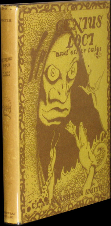 book-aesthete:  Genius Loci and Other Tales Clark Ashton Smith. Sauk City: Arkham House, 1948. First edition / First printing, Octavo, Hardcover. A near fine copy in a near fine dust jacket. Jacket art by Frank Wakefield. Jaffery, Horrors and Unpleasantries #35. Black cloth marked, spine stamping dull. Front panel of jacket bright and clean, spine a bit dull with very minor wear at top and bottom. A very nice copy.
