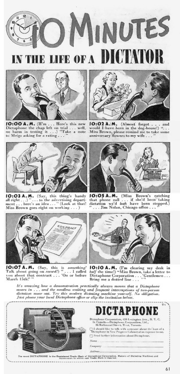 ~ Dictaphone advertisement, 1933via Flickr(click to enlarge)