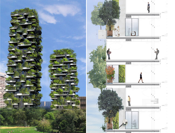 Bosco Verticale  Designed by Stefano Boeri - architect, academic and former editor of design and architecture magazine Domus - his Bosco Verticale is a towering 27-story structure, currently under construction in Milan, Italy. Once complete, the tower will be home to the world's first vertical forest.  Milan, Italy