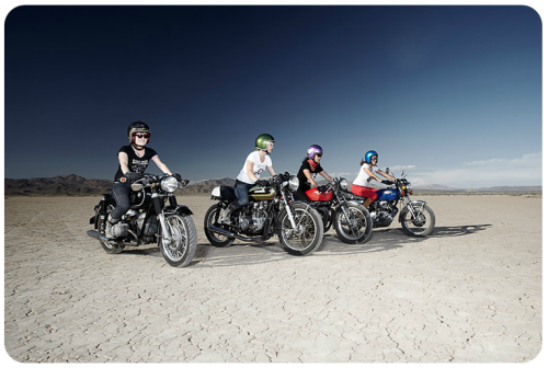 East Side Moto Babes on salt flats, photographed by Daniel Bergeron (website)