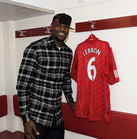 Lebron James gets his own Liverpool (@LFC) sick kit by @AdidasSoccer. Photos of Lebron's visit to Anfield here