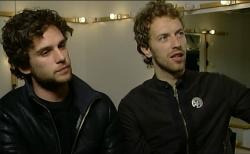 mysongislove-coldplay:  Guy Berryman and Chris Martin. X&Y Era