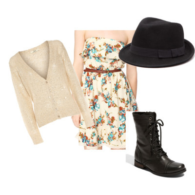 sequin tops tiered dress military inspired boots fashion style Forever21 Oasis Steve Madden polyvore